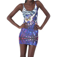 Owl Stained Glass Digital Print Scoop Neck Sleeveless Bodycon Dress for Women in Blue | DOTOLY