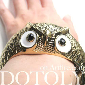 Owl Bird Animal Bangle Bracelet in Brass | Animal Jewelry | DOTOLY
