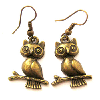 Owls On a Branch Shaped Animal Dangle Earrings in Brass | Animal Jewelry | DOTOLY