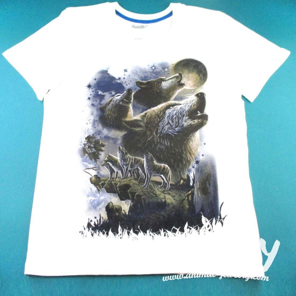 Pack of Wolves Howling at the Moon Print Graphic Tee in White | DOTOLY | DOTOLY
