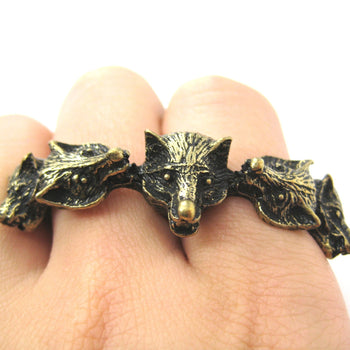 Pack of Wolves Shaped Double Duo Finger Animal Ring in Brass | DOTOLY | DOTOLY