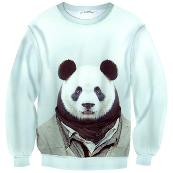 Panda Bear Dressed Up Animal Portrait All Over Print Sweatshirt Sweater | DOTOLY