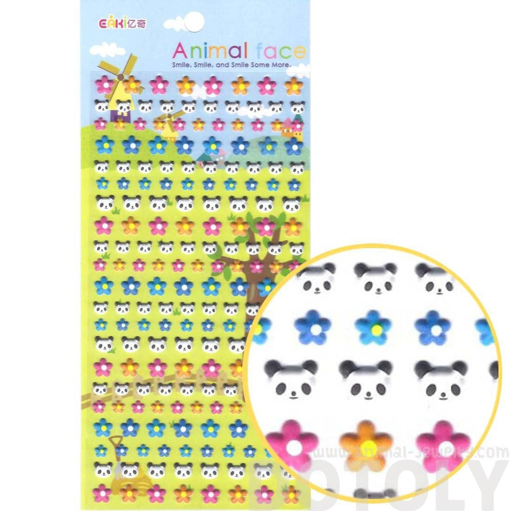 Panda Bear Face and Colorful Flower Shaped Animal Themed Puffy Stickers for Kids | DOTOLY