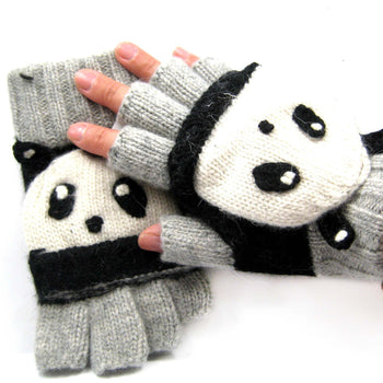 Panda Bear Shaped Animal Themed Wool Knit Fingerless Popover Mitten Gloves for Women | DOTOLY