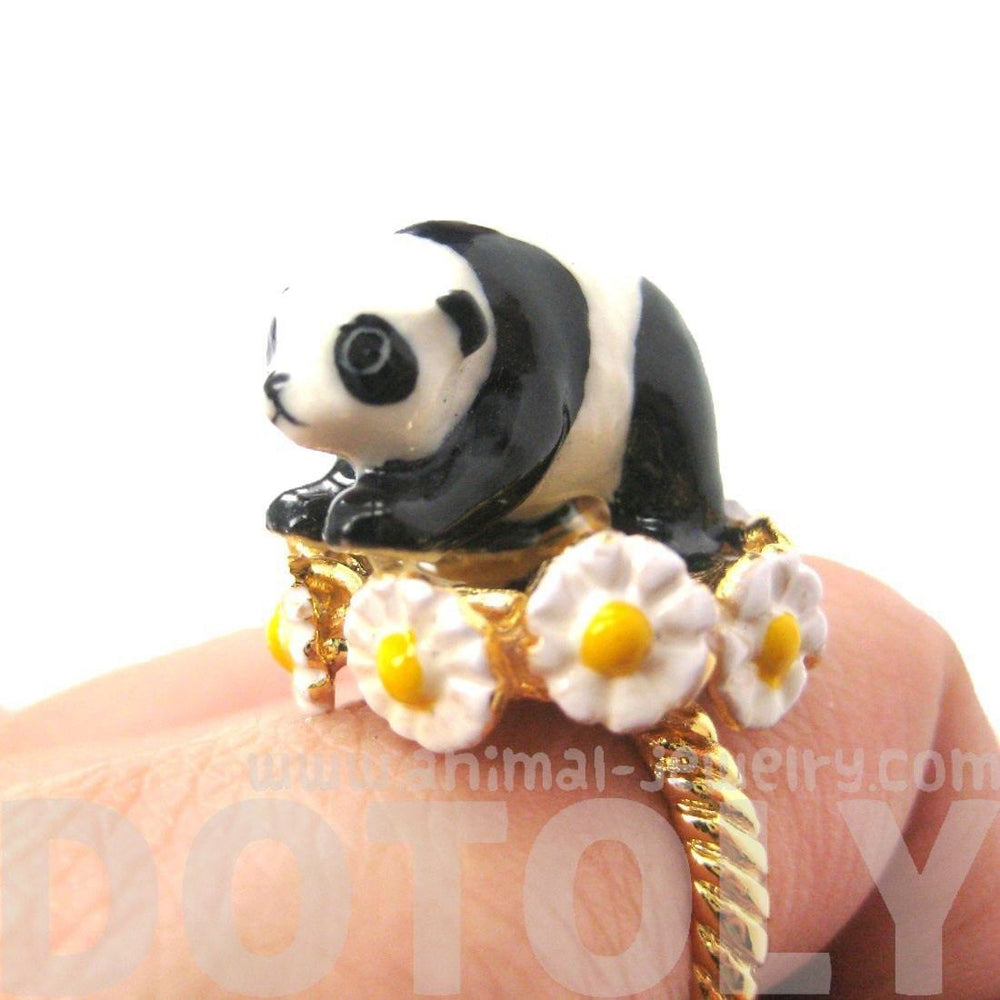 Panda Bear Shaped Ceramic Porcelain Animal Ring with Daisy Textured Border | Limited Edition | DOTOLY