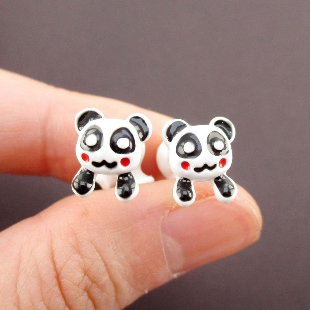 Panda Bear Shaped Two Part Front and Back Stud Earrings in Black and White | DOTOLY