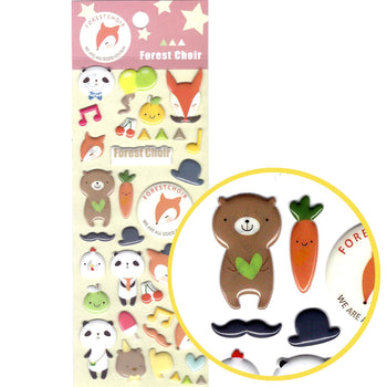 Panda Teddy Bear and Foxes Shaped Animal Puffy Stickers for Scrapbooking | DOTOLY
