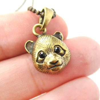 Panda Teddy Bear Animal Charm Necklace in Brass | Animal Jewelry | DOTOLY