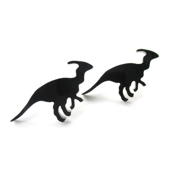 Parasaurolphus Silhouette Dinosaur Shaped Laser Cut Stud Earrings in Black | DOTOLY