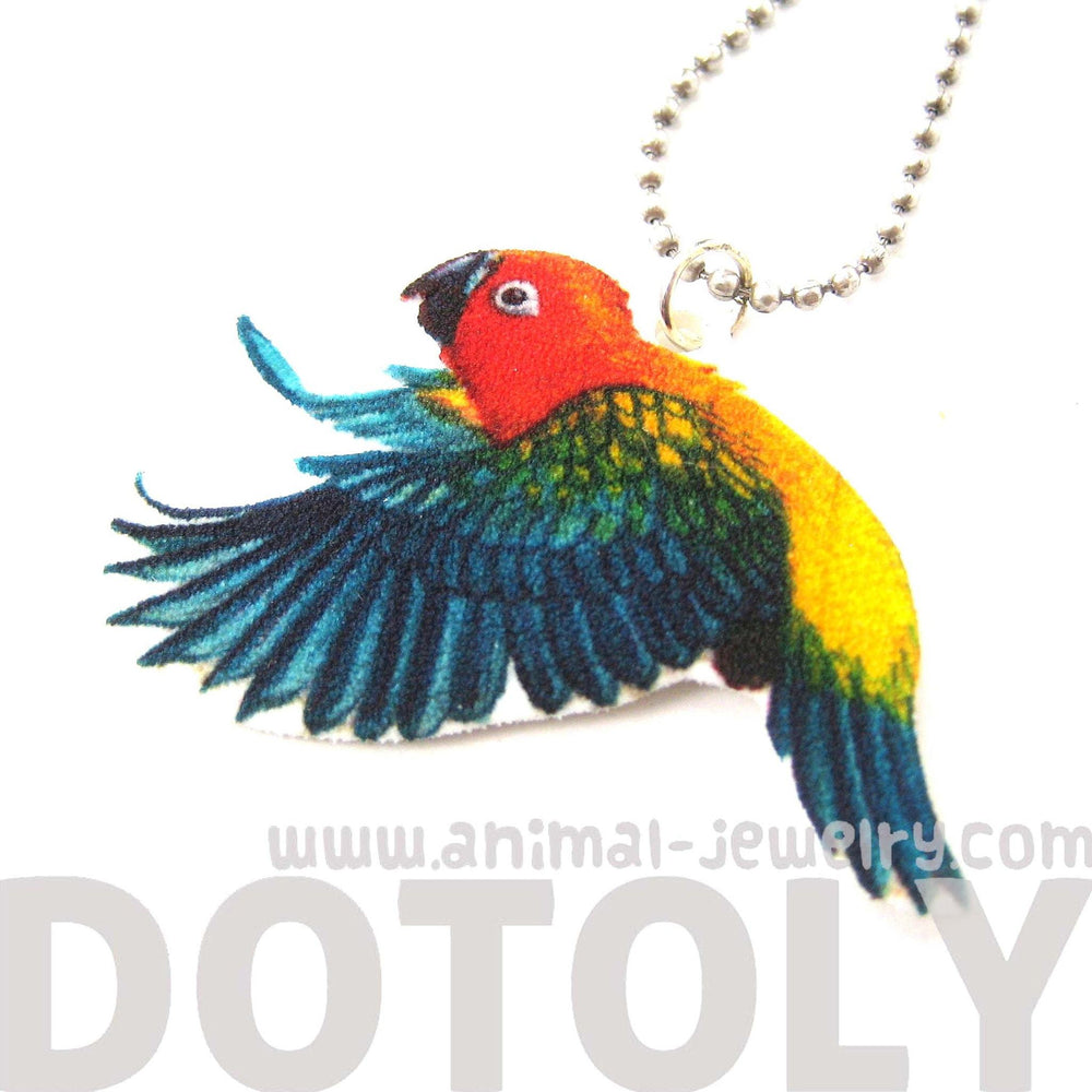 Parrot Bird Animal Hand Drawn Pendant Necklace | Handmade Shrink Plastic | DOTOLY