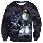 Patriotic American Bald Eagle on a Motorcycle All Over Print Unisex Pullover Sweater | DOTOLY