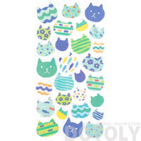Patterned Kitty Cat Face Silhouette Shaped Stickers for Scrapbooking from Japan | DOTOLY