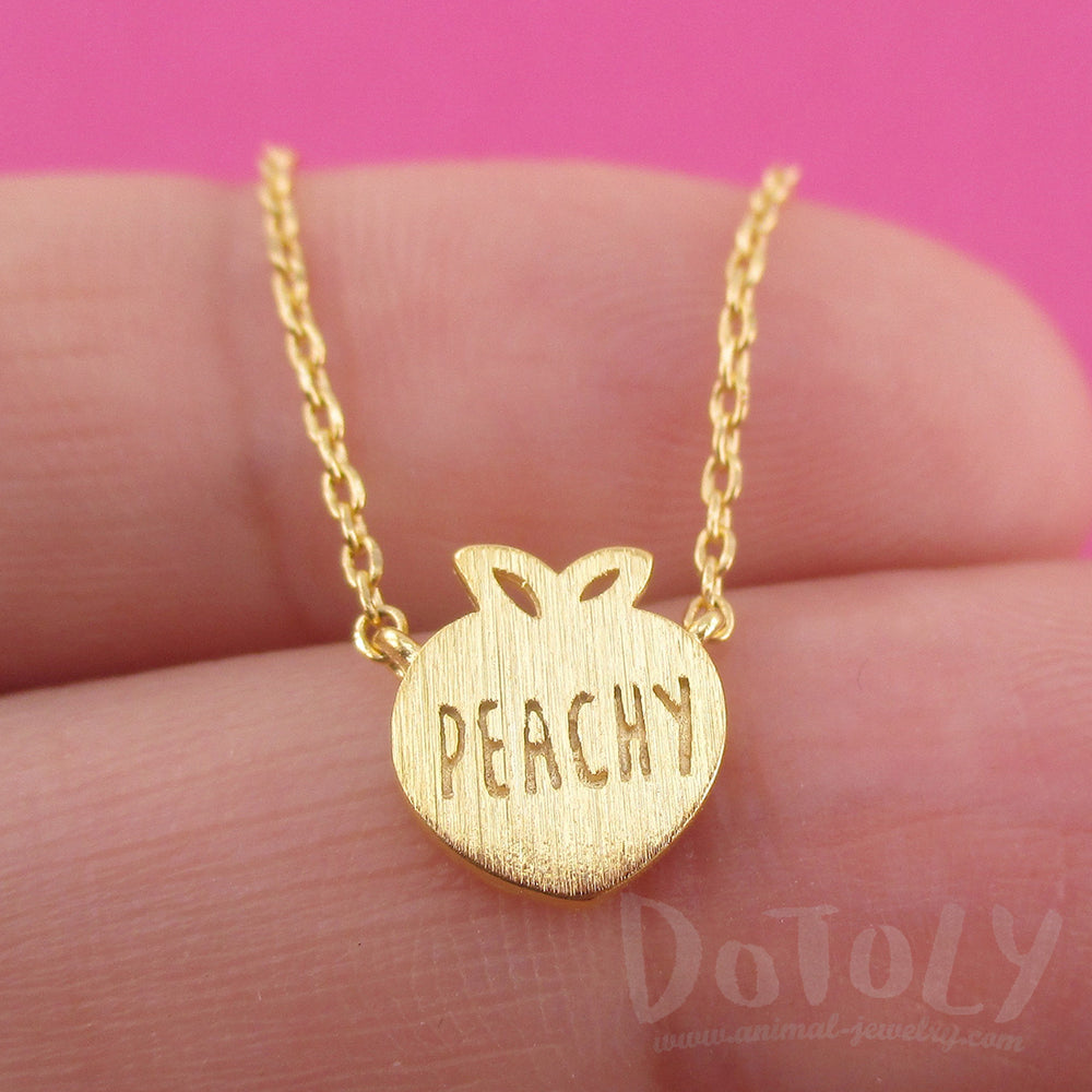 Peach Shaped Peachy Typography Fruit Charm Necklace in Gold | DOTOLY