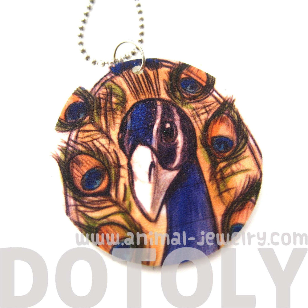 Peacock Bird Animal Hand Drawn Pendant Necklace | Handmade Shrink Plastic | DOTOLY