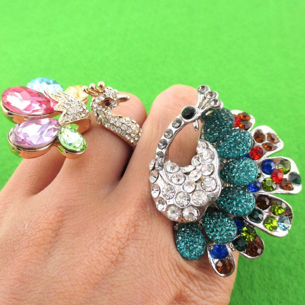Peacock Themed Animal Statement Rhinestone Rings 2 Piece Set | SALE