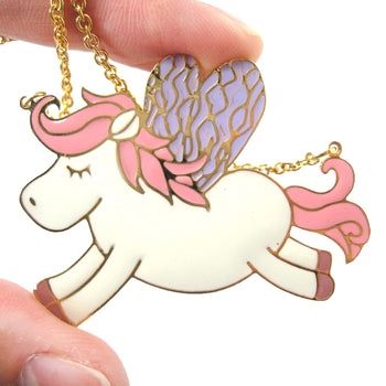 Pegasus Horse Shaped Animal Pendant Necklace in Pink on Gold | Limited Edition | DOTOLY