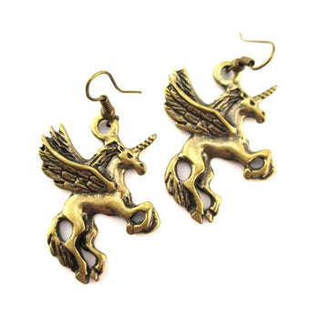 Pegasus Unicorn Horse Shaped Charm Dangle Earrings in Brass | Animal Jewelry | DOTOLY