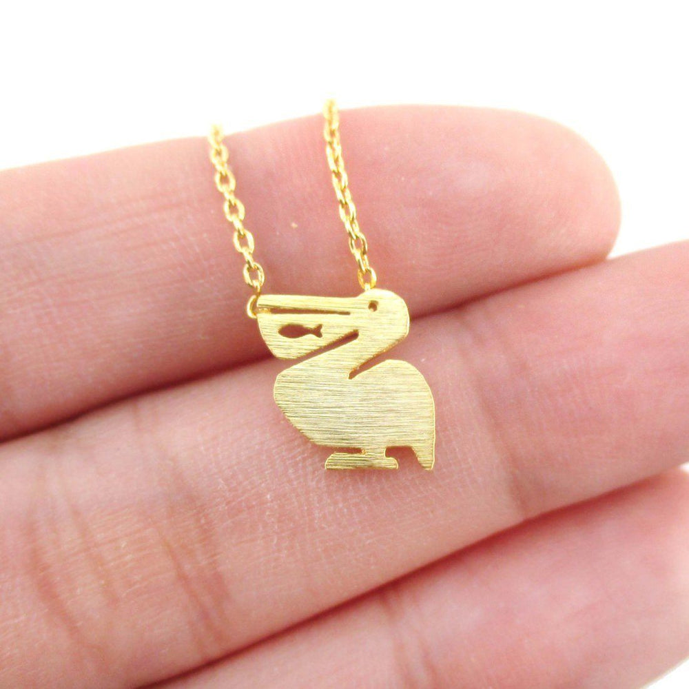 Pelican with Fish Cut Out Silhouette Shaped Charm Necklace in Gold