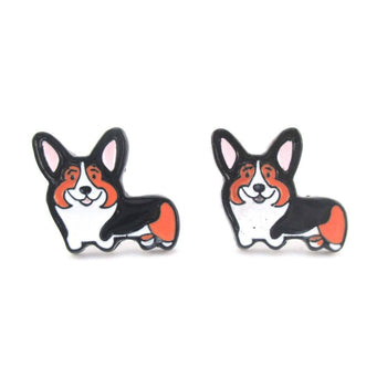 Pembroke Welsh Corgi Puppy Shaped Enamel Stud Earrings for Dog Lovers