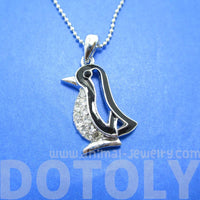 Penguin Outline Shaped Animal Pendant Necklace in Silver with Rhinestones | DOTOLY