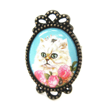 Persian Kitty Cat Illustrated Adjustable Ring in White with Roses | Animal Jewelry | DOTOLY