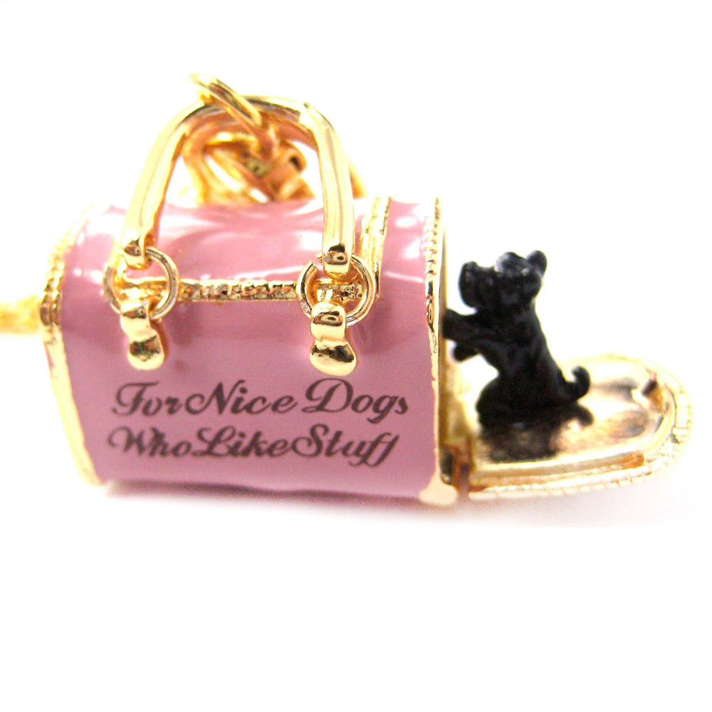Pet Dog Carrier Shaped Locket Pendant Necklace in Pink | Limited Edition Jewelry | DOTOLY