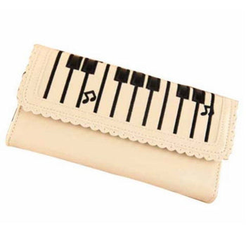 Piano Keyboard Musical Notes Shaped Bi Fold Clutch Long Wallet for Women in Cream | DOTOLY