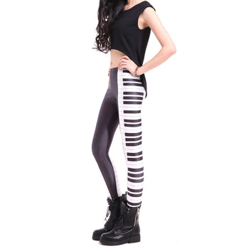 Piano Musical Keys Seams Digital Print Legging Pants for Women in Black and White | DOTOLY