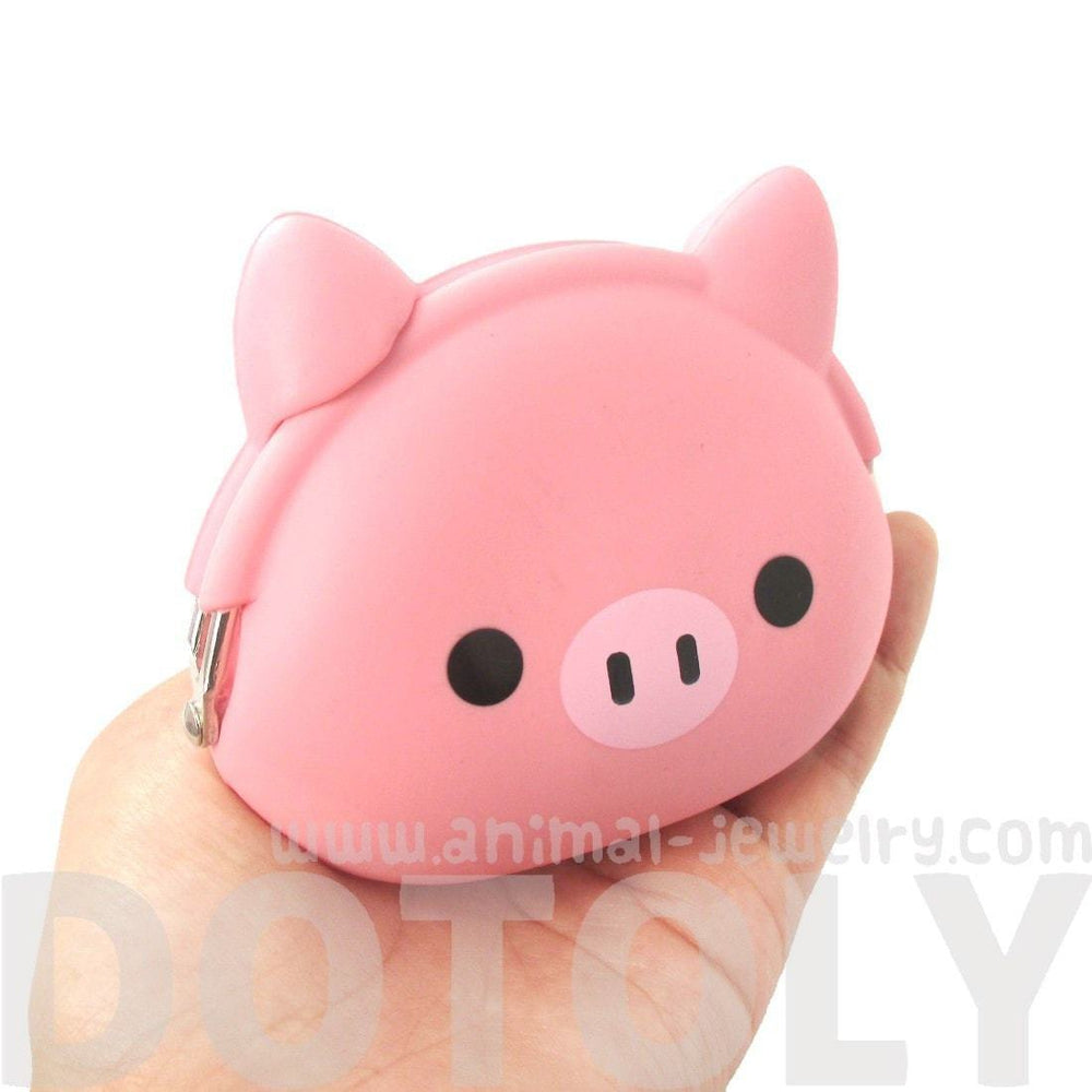 Piggy Piglet Pig Shaped Mimi Pochi Animal Friends Silicone Clasp Coin Purse Pouch | DOTOLY