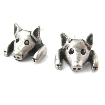 Piglet Pig Realistic Animal Stud Earrings in Silver | Animal Jewelry | DOTOLY