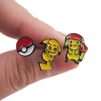 Pikachu and Pokeball Pokémon Themed 3 Piece Stud Earring Set | DOTOLY