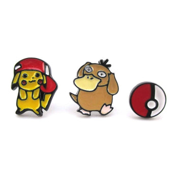 Pikachu Psyduck and Poké Ball Pokémon Themed 3 Piece Stud Earring Set