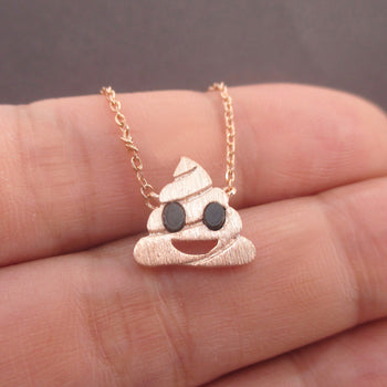 Pile of Poo Poop Emoji Pendant Necklace in Rose Gold | DOTOLY