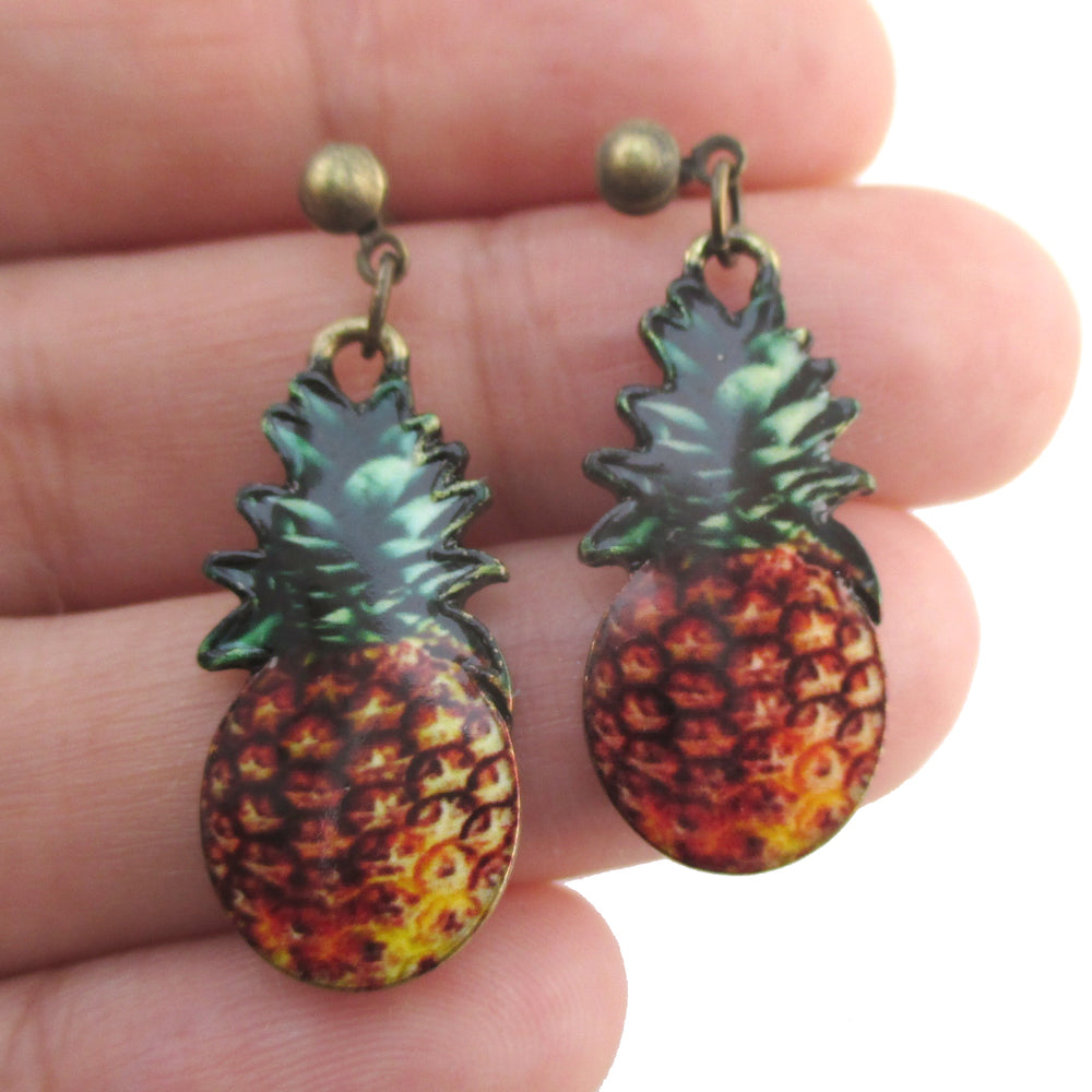 Realistic Pineapple Shaped Tropical Fruity Drop Dangle Stud Earrings | DOTOLY