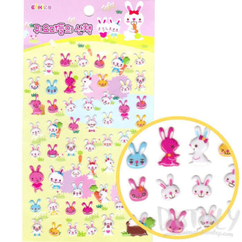 Pink and White Bunny Rabbit Shaped Puffy Stickers for Kids | DOTOLY