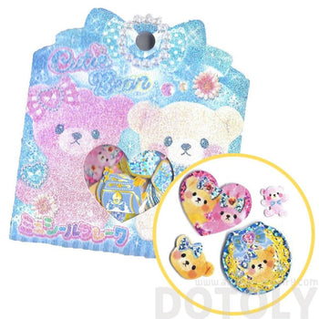 Pink Girly Teddy Bears and Gems Shaped Sticker Flake Seals From Japan | 71 Pieces | DOTOLY