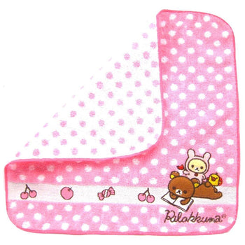 Pink Polka Dotted Embroidered Rilakkuma Bear Handkerchief Face Towel | Japan | DOTOLY
