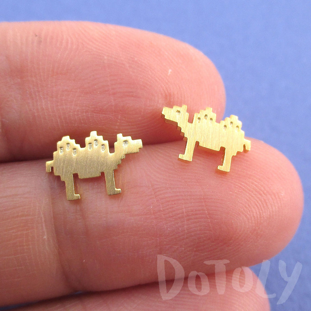 Pixel Camel Shaped Allergy Free Stud Earrings in Gold | DOTOLY