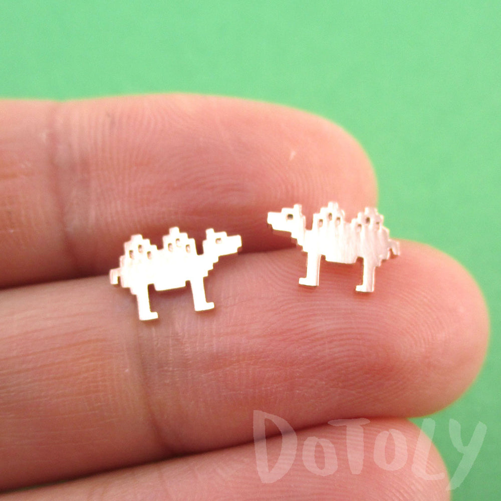Pixel Camel Shaped Allergy Free Stud Earrings in Rose Gold | DOTOLY