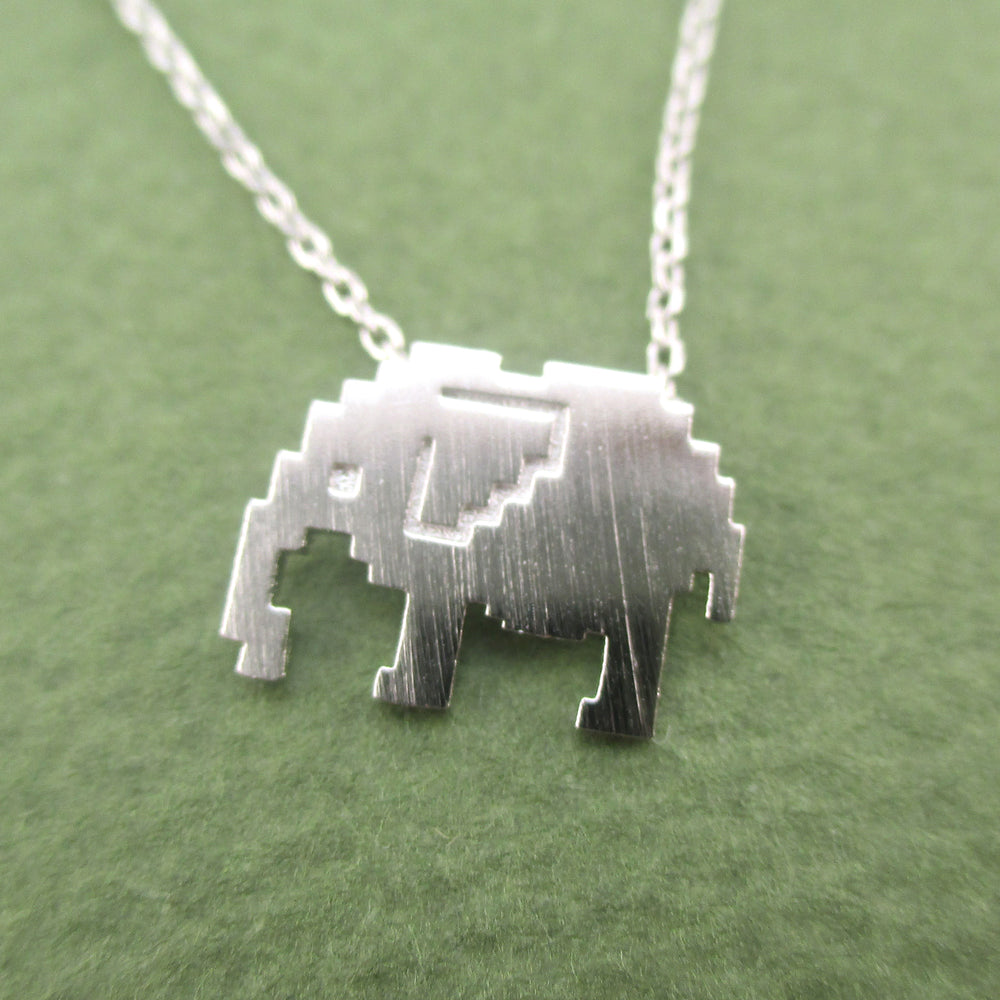 Pixel Elephant Silhouette Shaped Pendant Necklace in Silver