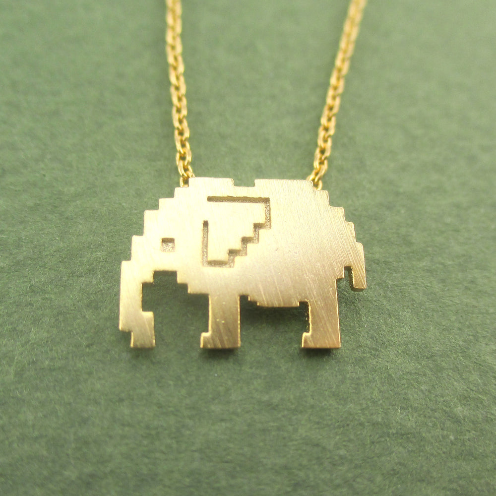 Pixel Elephant Silhouette Shaped Pendant Necklace Gold
