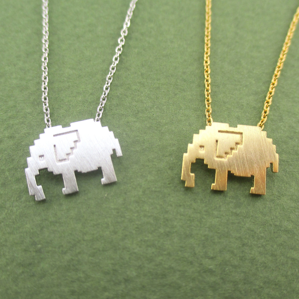 Pixel Elephant Silhouette Shaped Pendant Necklace in Silver or Gold