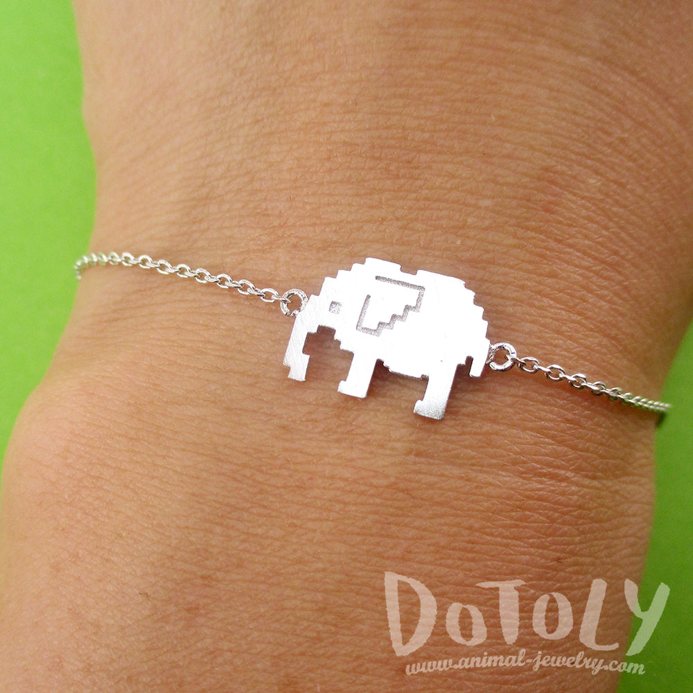 Pixel Elephants Shaped Charm Bracelet in Silver for Animal Lovers | DOTOLY