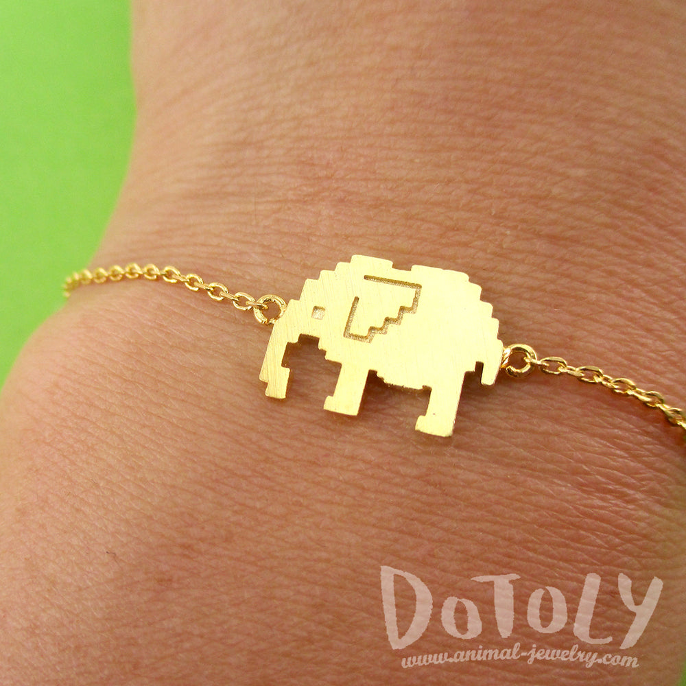 Pixel Elephants Shaped Charm Bracelet in Gold for Animal Lovers | DOTOLY