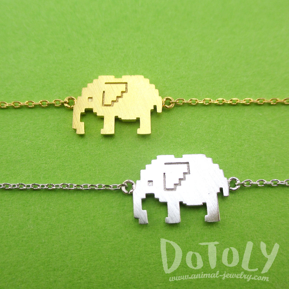 Pixel Elephants Shaped Charm Bracelet in Silver or Gold | DOTOLY