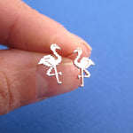 Pixel Flamingo Bird Shaped Allergy Free Stud Earrings in Rose Gold