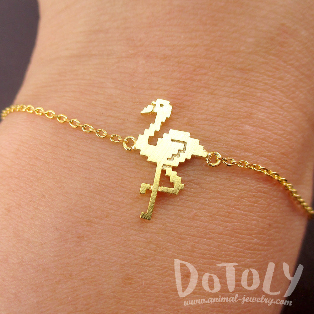 Pixel Flamingo Bird Shaped Charm Bracelet for Animal Lovers in Gold | DOTOLY