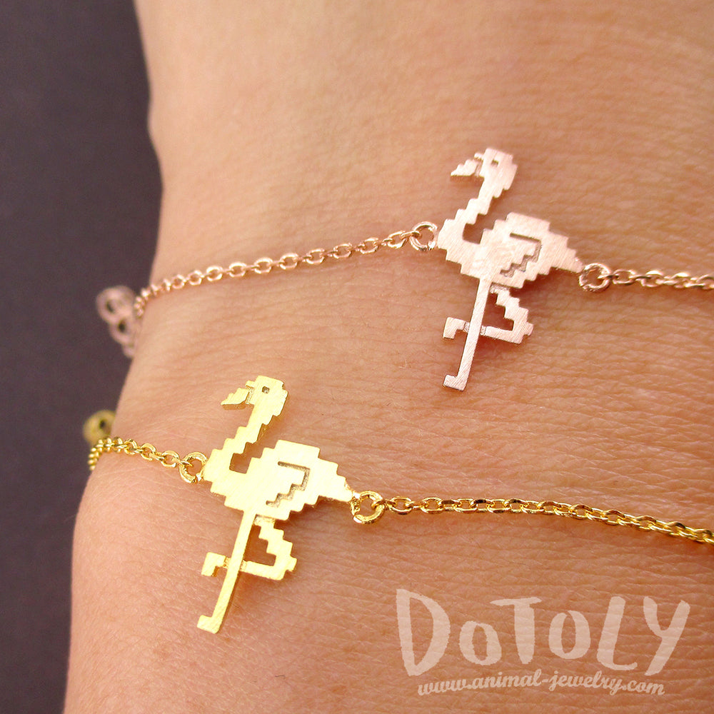 Pixel Flamingo Bird Shaped Charm Bracelet for Animal Lovers | DOTOLY