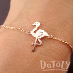 Pixel Flamingo Bird Shaped Charm Bracelet for Animal Lovers in Rose Gold | DOTOLY