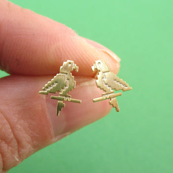 Pixel Parrot Bird Shaped Allergy Free Stud Earrings in Gold | DOTOLY